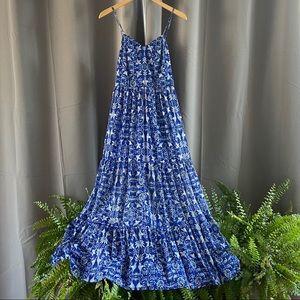 Cobalt Blue Floral Bird Pattern Maxi Dress S